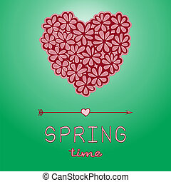 Spring time card with heart shaped bouquet