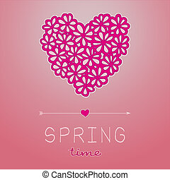Spring time card with heart shaped bouquet in pink