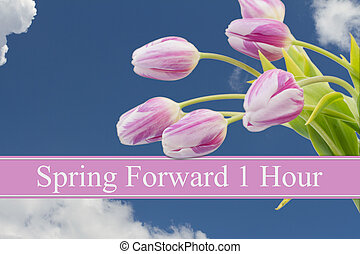 Spring Time Change, Some tulips with blue sky and text ...