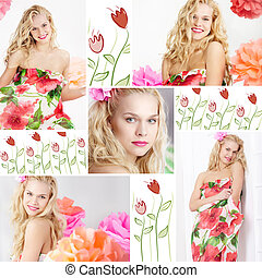 Spring time - Collage of happy woman in smart dress with ...
