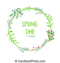 Spring time floral frame with watercolor flowers isolated on white background. Vector template for greeting card, invitation, poster, banner, voucher, wallpaper, flyer, brochure, coupon discount.