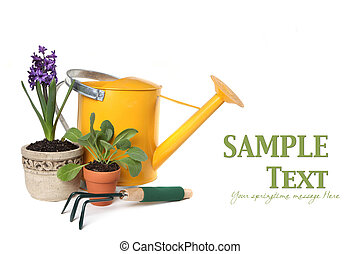 Spring Time Gardening With Watering Can, Trowel and ...