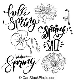 Spring time hand drawn lettering designs set.