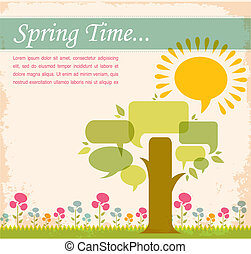 spring time, speech bubble meadow