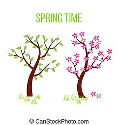 Spring time tree composition with flowers and leaves