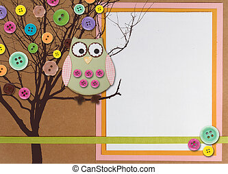 Spring time tree with owl on paper background with copy-space
