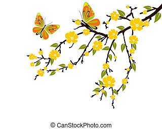 spring time - vector illustration of a branch with yellow ...
