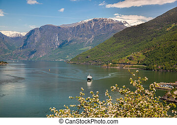 Spring time with cruise ship in fjord, Flam, Norway