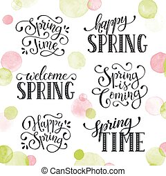 Hand written Spring time phrases with birds. Greeting card text templates isolated on white background. Welcome Spring lettering in modern calligraphy style. Hello Spring wording.