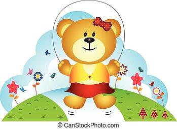 spring touw, weinig; niet zo(veel), spelend, beer