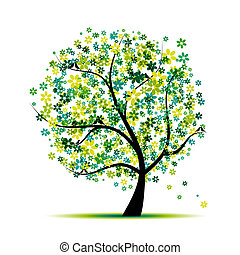 spring., träd, fåglar, design, blommig, din