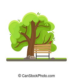 Spring tree. Bench with a bird. Isolated image.