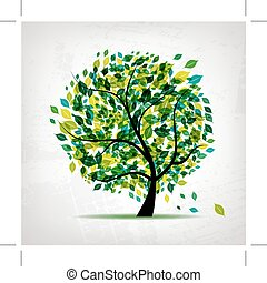 Spring tree green on grunge background for your design