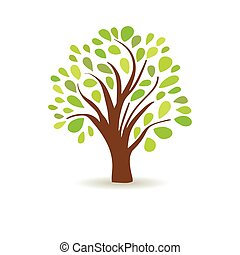 Spring tree in a white background. Abstract vector design. Tree logo. Oak logotype.