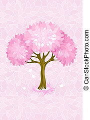 spring tree on pink background with ornament