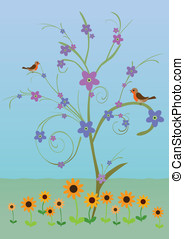 Spring tree with birds and flowers