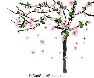 Spring tree with cherry flowers blossom, sakura, plum. Vector isolated