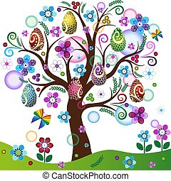 Spring tree with colorful easter eggs, flowers