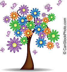 Tree with flowers and butterflies - Spring Tree with flowers...
