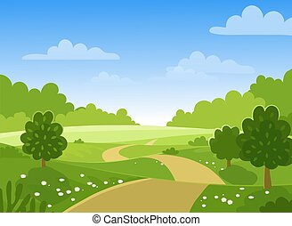 Spring trees on the farm. Green hills and meadows, blue sky with clouds, flowers and trees. Card with spring or summer landscape. Flat vector illustration.