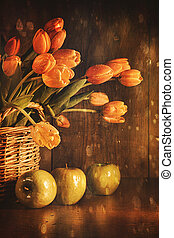 Spring tulips and with vintage feeling