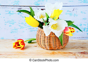 Spring tulips in a basket, flowers