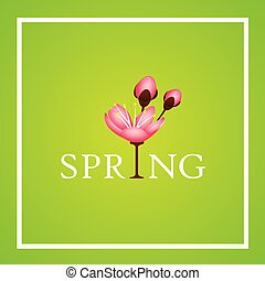 spring typography with cherry blooming flowers pink petals
