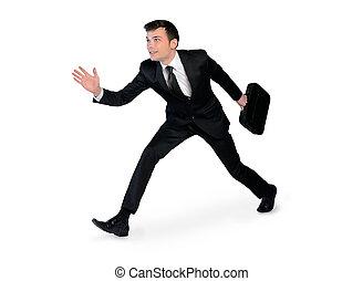 spring, ung, affärsman