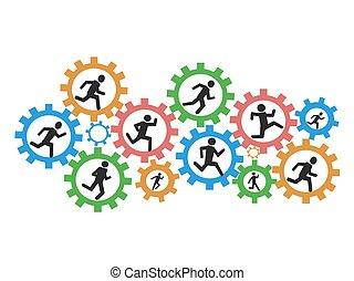 spring, utrustar, folk