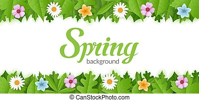 Spring vector background with blooming flowers and green foliage