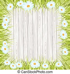 Spring vector background with wooden sign , Grass and flower
