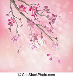 Spring vector cherry tree branch
