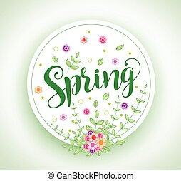 Spring vector design typography in circle with colorful flowers
