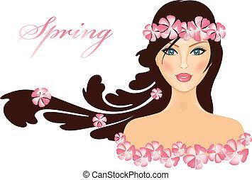 Spring - vector illustration of gir