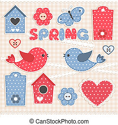 Spring. Vector scrapbook elements