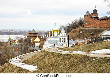 Spring view Church of Elijah the Prophet and Kremlin Nizhny Novgorod Russia