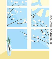 spring view from the window vector illustration