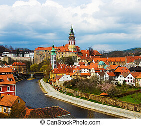 Spring panorama aerial view of Cesky Krumlov. Czech republic