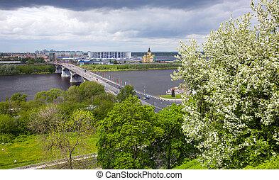 Spring view of Nizhny Novgorod in flowering trees