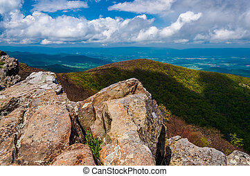 Spring view of the Shenandoah Valley from Hawksbill Summit, in Shenandoah National Park, Virginia