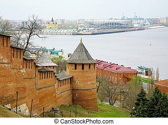 Spring view of the towers of the Nizhny Novgorod Kremlin against the background of the confluence of the two rivers Oka and Volga