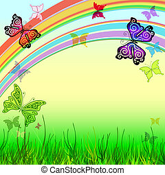 Spring vivid frame with meadow, rainbow and butterflies (vector EPS 10)