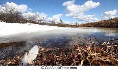 spring warmly polar tundra melting of snow - spring weather...