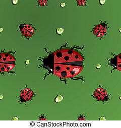 Spring water drops and ladybug pattern