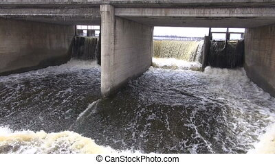 spring water overflow in dam - spring water overflow in lake...