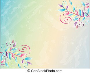 Spring Watercolor Floral Border Background