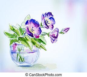Spring watercolor flowers in vase. Greeting Card.