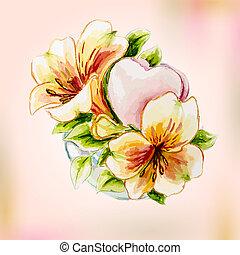 Spring watercolor flowers in vase.
