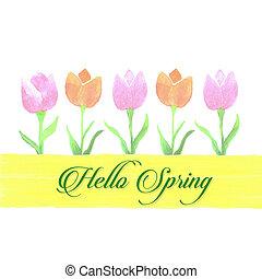 Spring watercolor tulip banner for scrapbooking