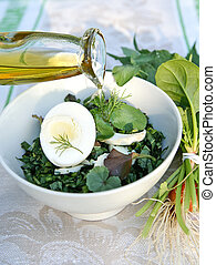 Spring weeda salad dressed with olive oil - Healthy enrich ...